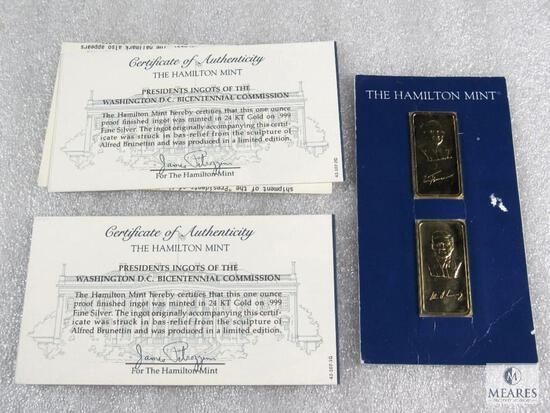 JFK and Truman - Hamilton Mint Presidential Ingots - 24k gold over .999 fine silver