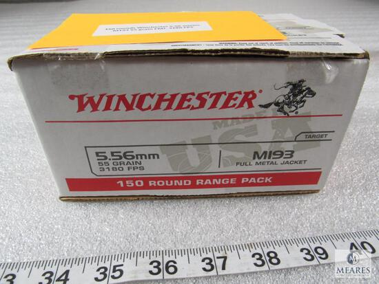 150 Rounds Winchester 5.56 Ammo M193 55 Grain FMJ. 3180 FPS