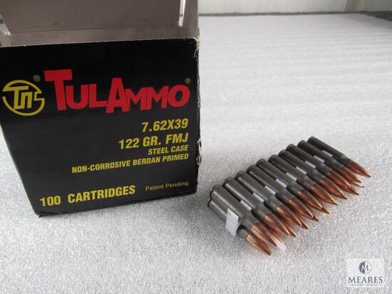 100 Rounds Tulammo 7.62x39 ammo 122 grain FMJ