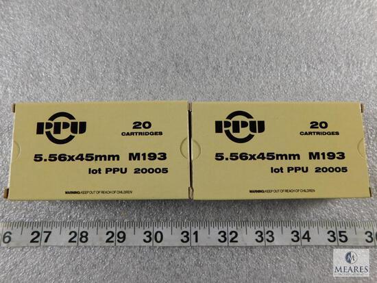 40 rounds Prvi Partizan PPU 5.56 ammo M193 55 grain FMJ.