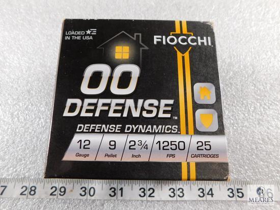 """25 rounds Fiocchi .12 gauge 00 Defense 9 pellet, 2 3/4"""" 1250FPS."""
