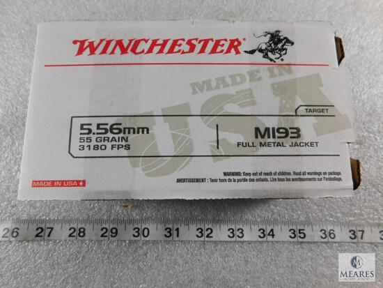 150 Rounds Winchester 5.56 Ammo M193 55 Grain FMJ. 3180FPS