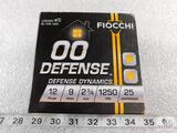 25 rounds Fiocchi .12 gauge 00 Defense 9 pellet, 2 3/4