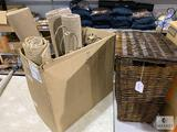 Four Metal Lamps, Four Entry Rugs, Wicker Hamper