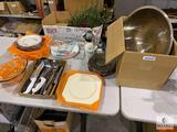 Mixed Lot of Glass and Metal Serving and Kitchen Items