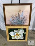 Framed Artist Signed Painting and Framed Garden Ridge Piece