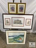 Four Framed Under Glass Art Pieces