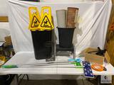 Assorted Office Items - Wet Floor Signs, Swiffers, Folding Plastic Stool, and More