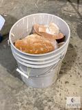 44-pound bucket of mixed Pink Himalayan Salt - bricks and otherwise