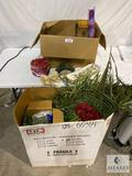 Flower and Faux Flower Arrangement Items and Large Box of Faux Palm Fronds