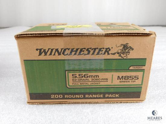 200 Rounds Winchester 5.56mm M855 Green Tip FMJ 62 Grain 3060 FPS Ammo