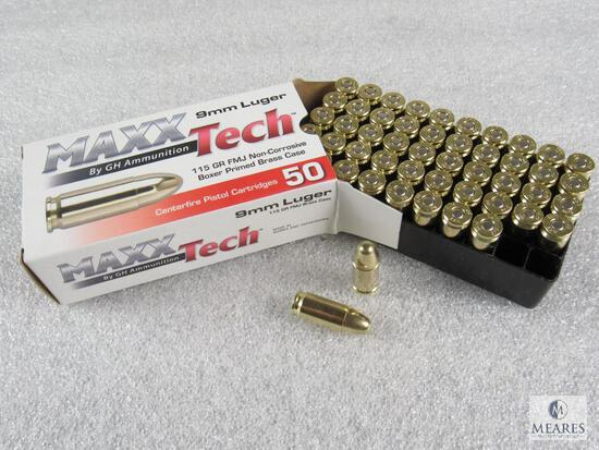 50 Rounds MaxxTech 9mm Ammunition - 115 Grain FMJ