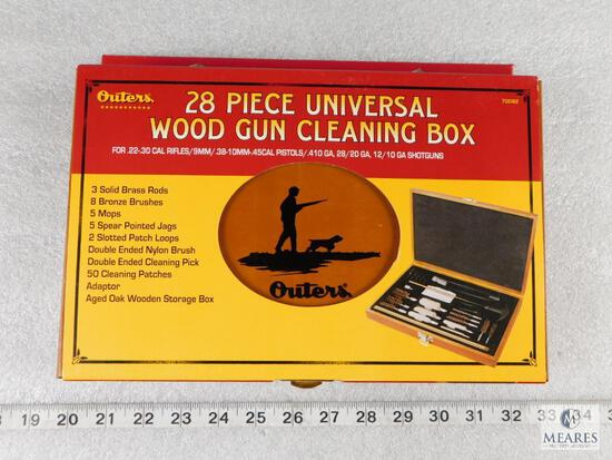 New Outers 28 Piece Universal Brass Gun Cleaning Kit in the Wooden Box
