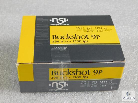 """10 Rounds Nobel Sport .20 Gauge Buckshot 2 3/4"""" #1 Buck 9 Pellers 1300FPS"""