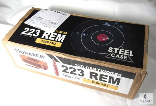 Sealed - Spam Can 520 Rounds Monarch .223 REM Steel Case 55 Grain FMJ Ammo