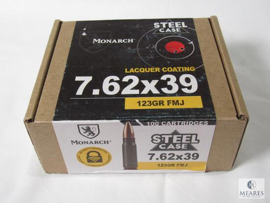 100 Rounds Monarch Steel Case 7.62x39 123 Grain FMJ Ammo Lacquer Coating