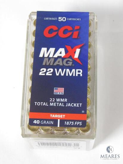 50 Rounds CCI Maxi-Mag .22 WMR 40 Grain Total Metal Jacket Ammo