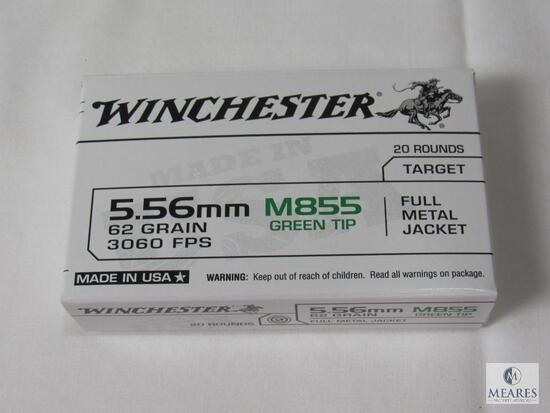 20 Rounds Winchester 5.56mm 62 Green M855 Green Tip FMJ Ammo