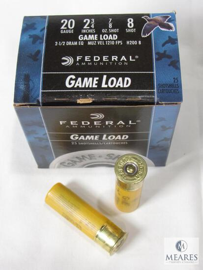 "25 Rounds Federal Game Load 20 Gauge 2-3/4"" Shells 7/8 oz 8 Shot 1210 FPS"