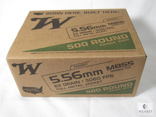 500 Rounds Winchester 5.56mm M855 Green Tip Ammo 62 Grain FMJ 3060 FPS