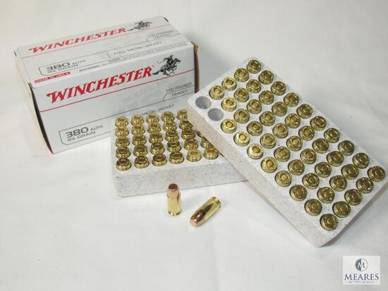 100 Rounds Winchester .380 Auto 95 Grain FMJ Ammo