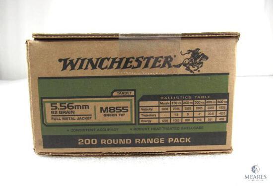 200 Rounds Winchester 5.56 M855 Green Tip Ammunition 62 Grain