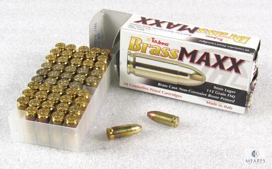 50 Rounds TulAmmo Brass Maxx 9mm Luger 115 Grain FMJ Ammo