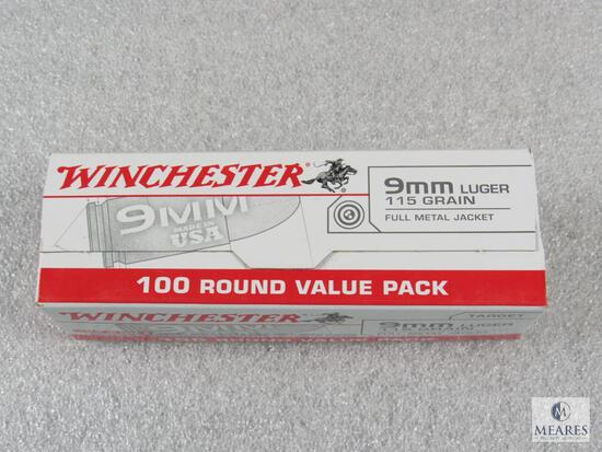 100 Rounds Winchester 9mm Luger 115 Grain FMJ Ammo