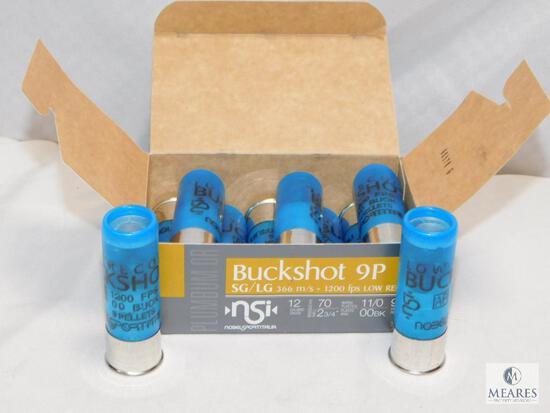 """10 rounds Nobel Sport .12 gauge Buckshot 2 3/4"""" 00 Buck 9 pellet 1200 FPS"""