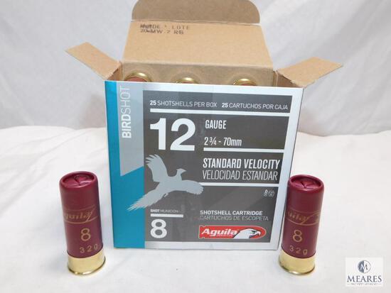 "25 rounds Aguila .12 gauge shotgun shells. 2 3/4"" #8 shot 1 1/8 ounce 1200 FPS."