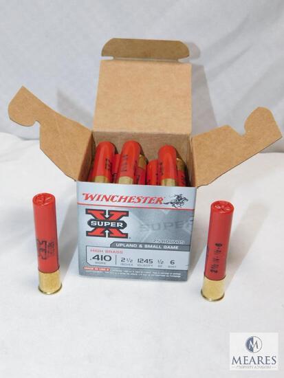 """25 rounds Winchester .410 gauge shotgun shells. 2 1/2"""" #6 shot high brass 1245FPS."""