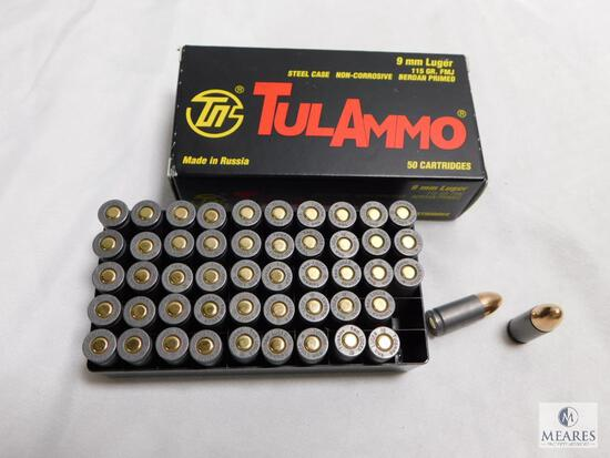 50 rounds Tulammo 9mm ammo. 115 grain FMJ.