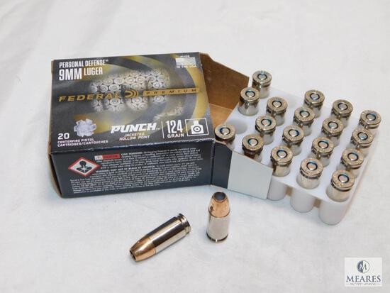 20 rounds Federal Premium Self Defense 9mm ammo. 124 grain jacketed hollow point.