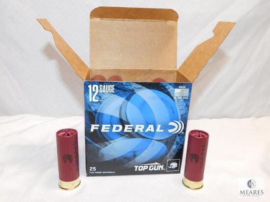 """25 rounds Federal Top Gun .12 gauge shotgun shells. 2 3/4"""" 1 1/8 ounce #8 shot 1200 FPS"""