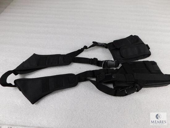 UTG Black Nylon Adjustable Shoulder Holster with Double Mag Pouch