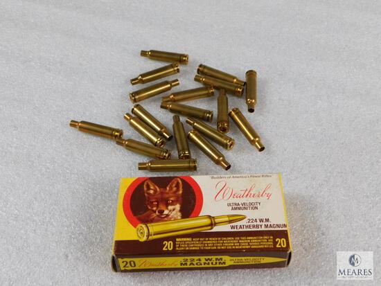 Lot .224 Weatherby Magnum Brass for Reloading