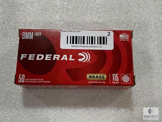 50 Rounds Federal 9mm Luger Brass Case 115 Grain