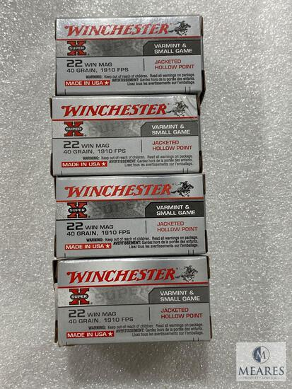 200 Rounds Winchester 22 WIN Mag 40 Grain 1910 FPS Jacketed Hollow Point
