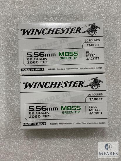 40 Rounds Winchester 5.56mm M855 Green Tip 62 Grain 3060 FPS FMJ