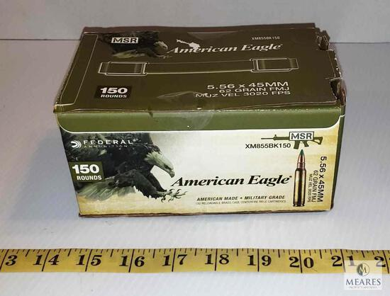 150 Rounds American Eagle 5.56 x 45mm Green Tip 62 Grain FMJ Ammo 3020 FPS
