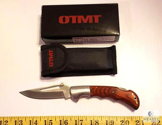 New OTMT Wood Handle Lockback Folder Knife