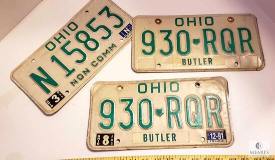 Lot of 3 Vintage Ohio License Plates (2) Matching