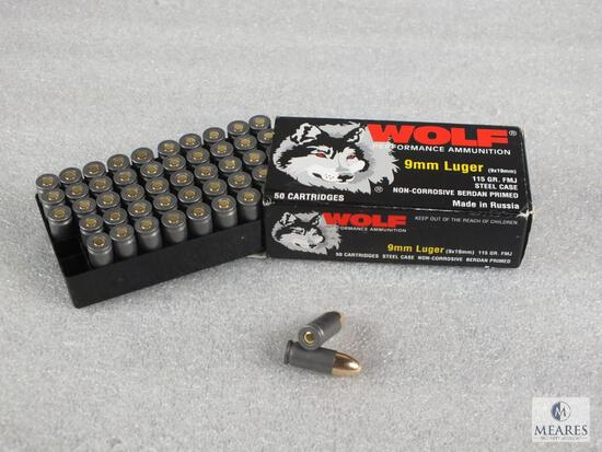 50 rounds Wolf 9mm ammo. 115 grain FMJ.