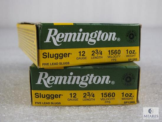 """10 rounds Remington .12 gauge Slugs. 2 3/4"""" 1 ounce rifled. Great for home defense or hunting."""