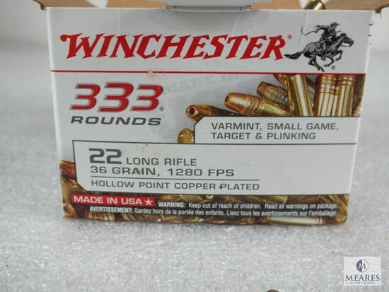 333 rounds Winchester .22 long rifle ammo. 36 grain copper plated hollow point. 1280 FPS