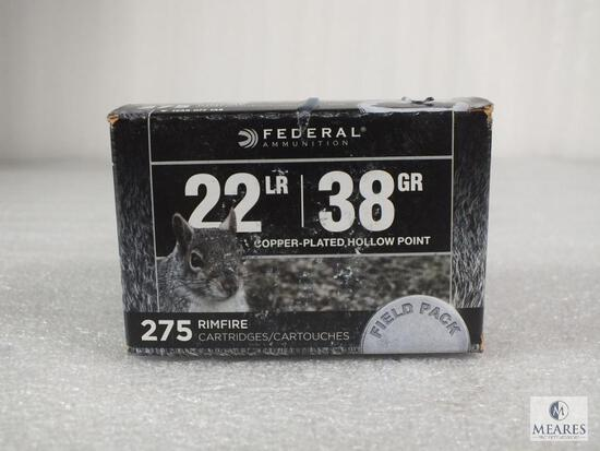 275 rounds Federal .22 long rifle ammo.38 grain copper plated hollow point. 1260FPS