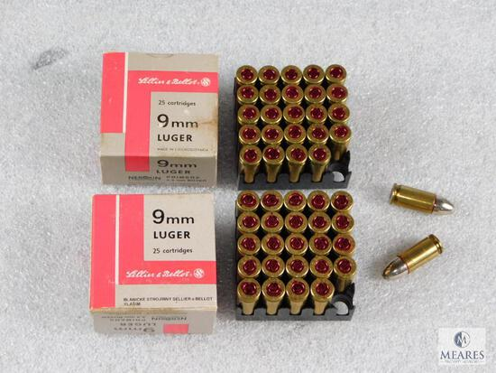 50 Rounds Sellier & Bellot 9mm Luger Ammo (2 boxes of 25)