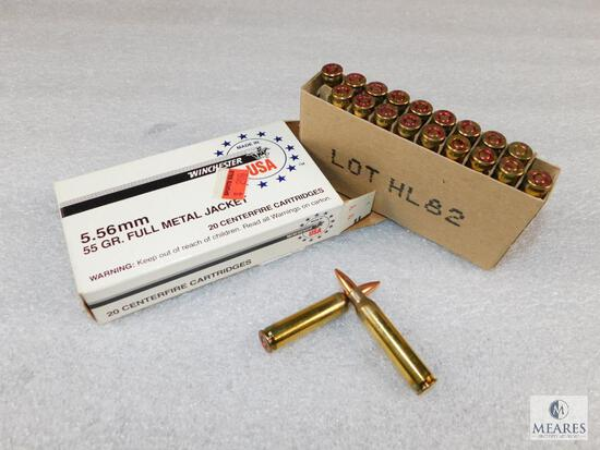 40 Rounds Winchester 5.56mm 55 Grain FMJ Ammo (2 boxes of 20 rounds)