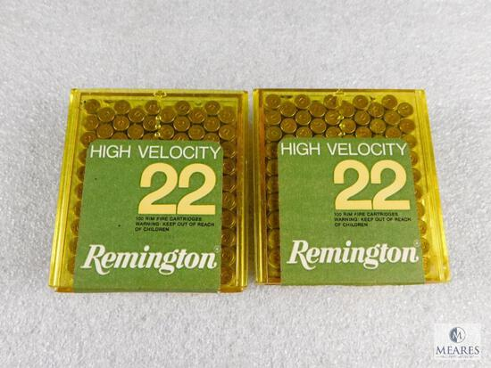 200 Rounds Remington .22 LR High Velocity Solid Bullet Ammo (2 packs of 100 each)