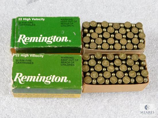 100 Rounds Remington .22 LR High Velocity Ammo (2 boxes of 50 each)